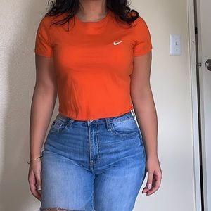 Orange cropped Nike Tee